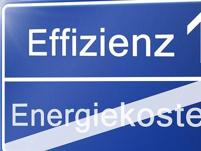 Schild Effizienz Energiekosten 7 zu 3, Effizienz, Energiekosten, Fotolia 80559830