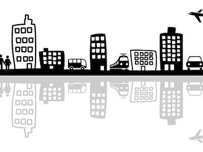 stadt, haus, gebäude, hochhaus, silhouette, skyline, verkehr, wohnen, bus, zug, flugzeug, auto, fahren, stadtverkehr, nahverkehr, menschen, einkaufen, mobilität, wohnung, immobilie, park, häuser, grafik, straßenbahn, fahrrad, anbindung, leben, eigenheim, eigentumswohnung, kauf, großstadt, city, kleinstadt, auto, baum, garten