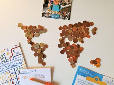 Die Kontinente der Welt in Münzen.